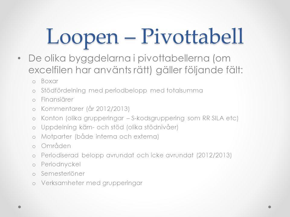 Loopen – Pivottabell De olika byggdelarna i pivottabellerna (om excelfilen har använts rätt) gäller följande fält: