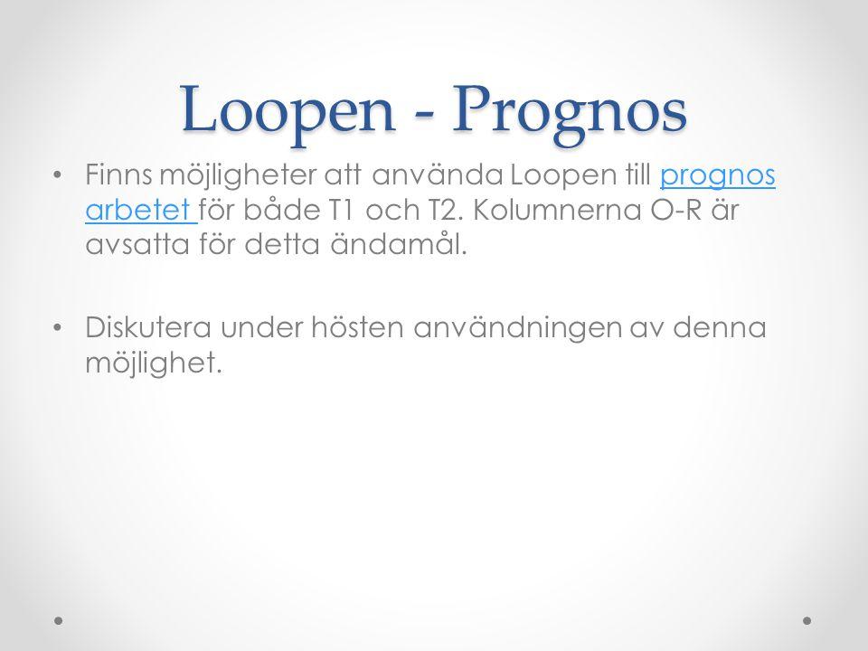 Loopen - Prognos Finns möjligheter att använda Loopen till prognos arbetet för både T1 och T2. Kolumnerna O-R är avsatta för detta ändamål.