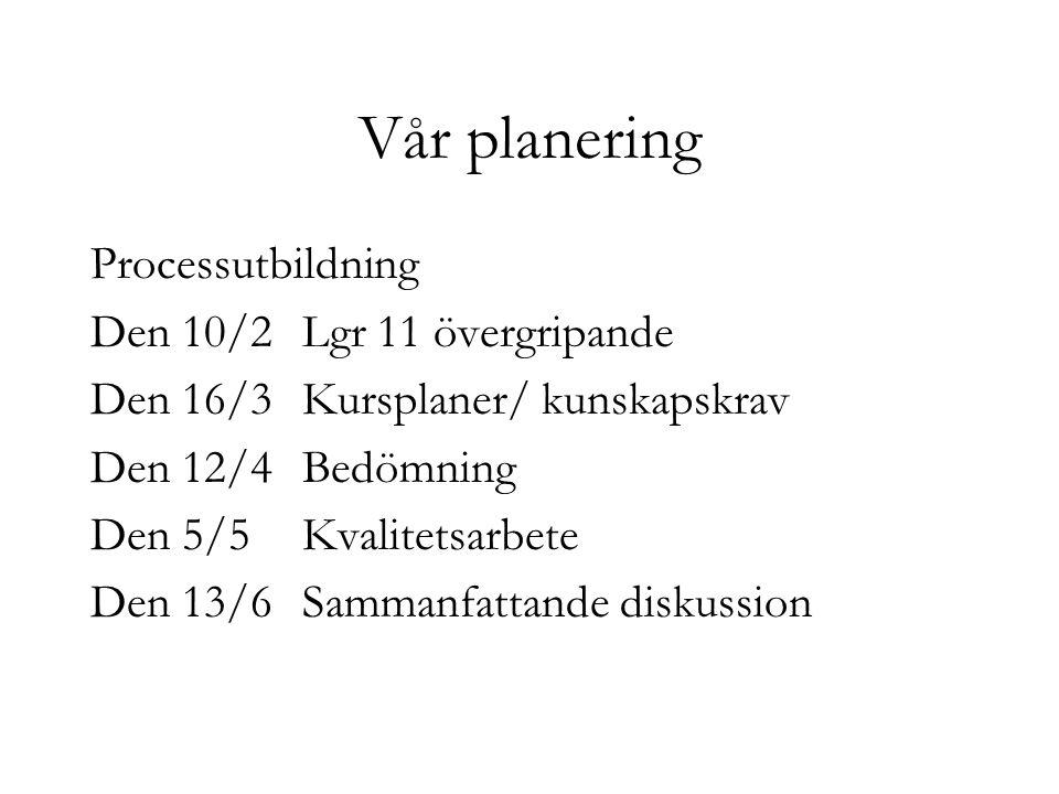 Vår planering Processutbildning Den 10/2 Lgr 11 övergripande