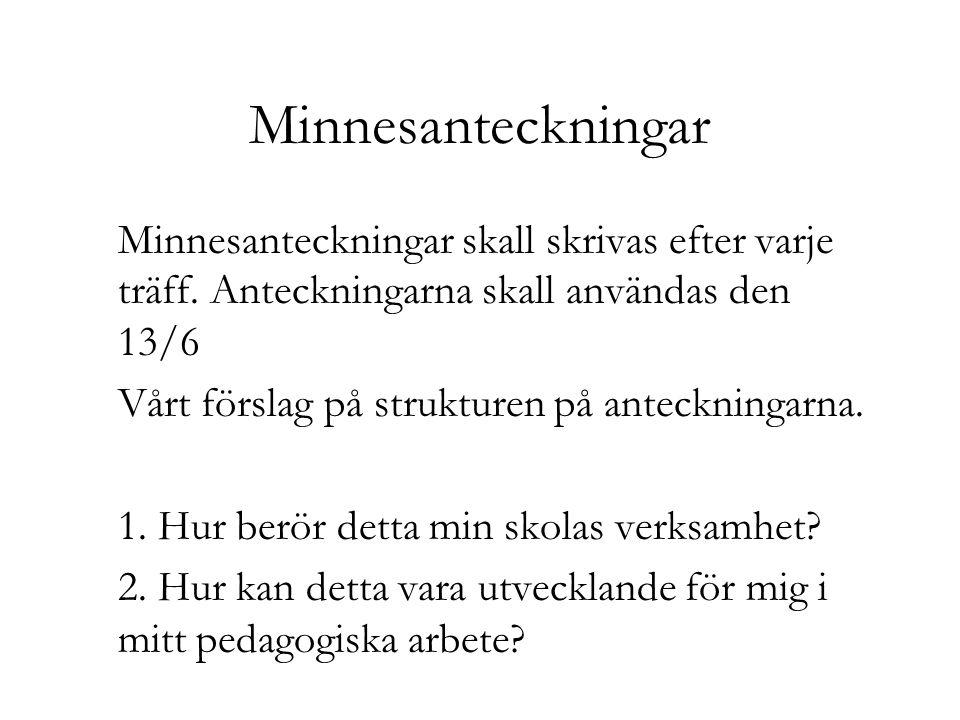 Minnesanteckningar Minnesanteckningar skall skrivas efter varje träff. Anteckningarna skall användas den 13/6.