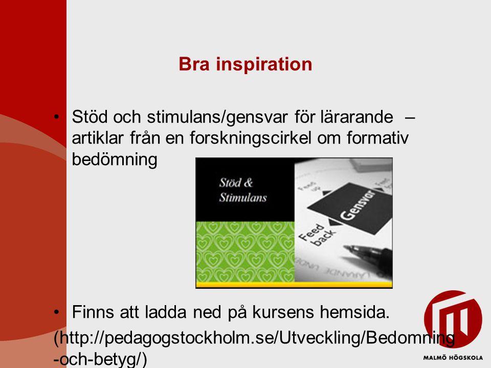 Bra inspiration Stöd och stimulans/gensvar för lärarande – artiklar från en forskningscirkel om formativ bedömning.