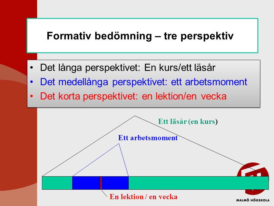 Formativ bedömning – tre perspektiv