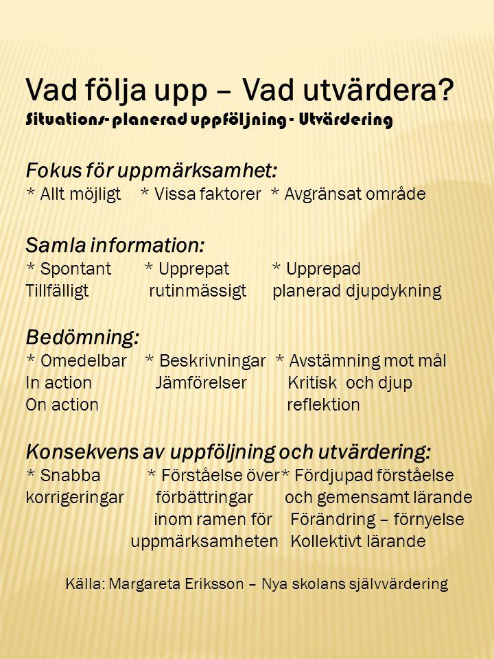 Källa: Margareta Eriksson – Nya skolans självvärdering