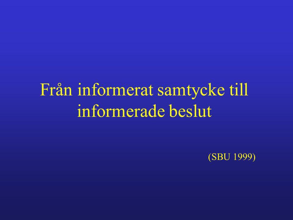 Från informerat samtycke till informerade beslut (SBU 1999)