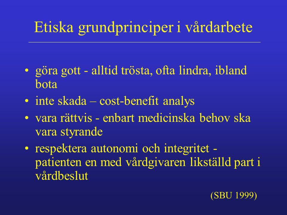 Etiska grundprinciper i vårdarbete