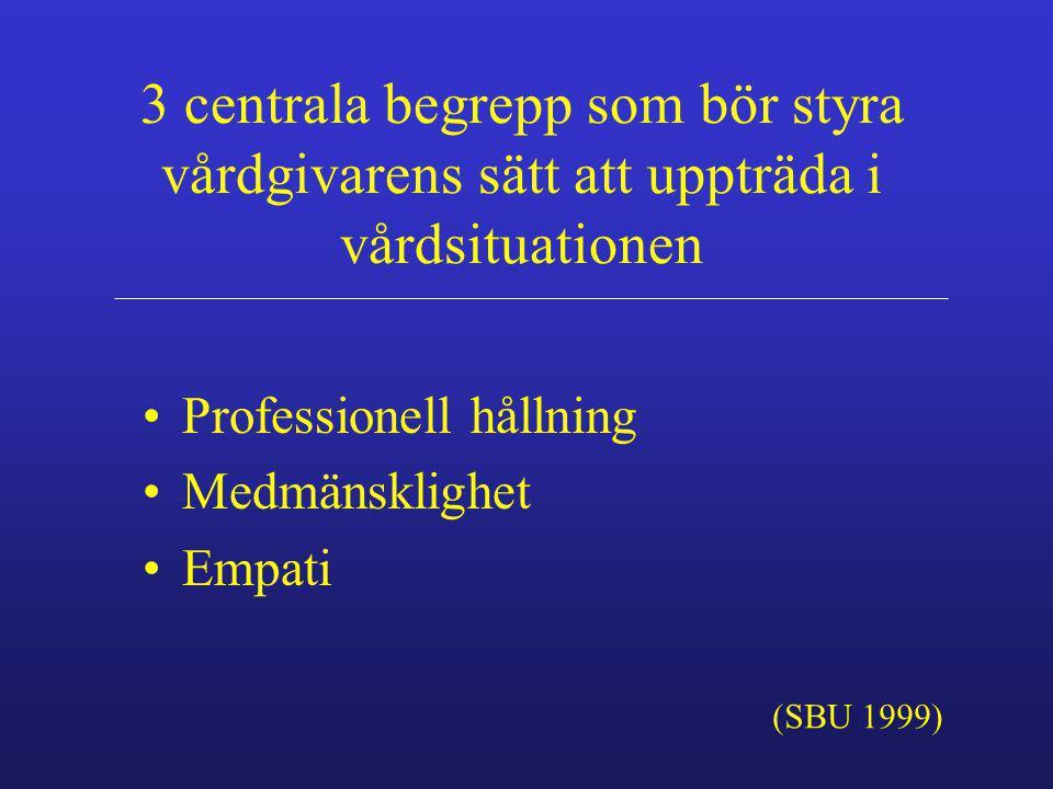 3 centrala begrepp som bör styra vårdgivarens sätt att uppträda i vårdsituationen