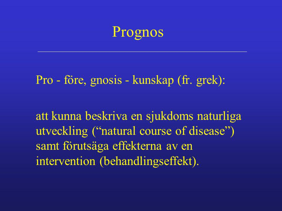 Prognos Pro - före, gnosis - kunskap (fr. grek):