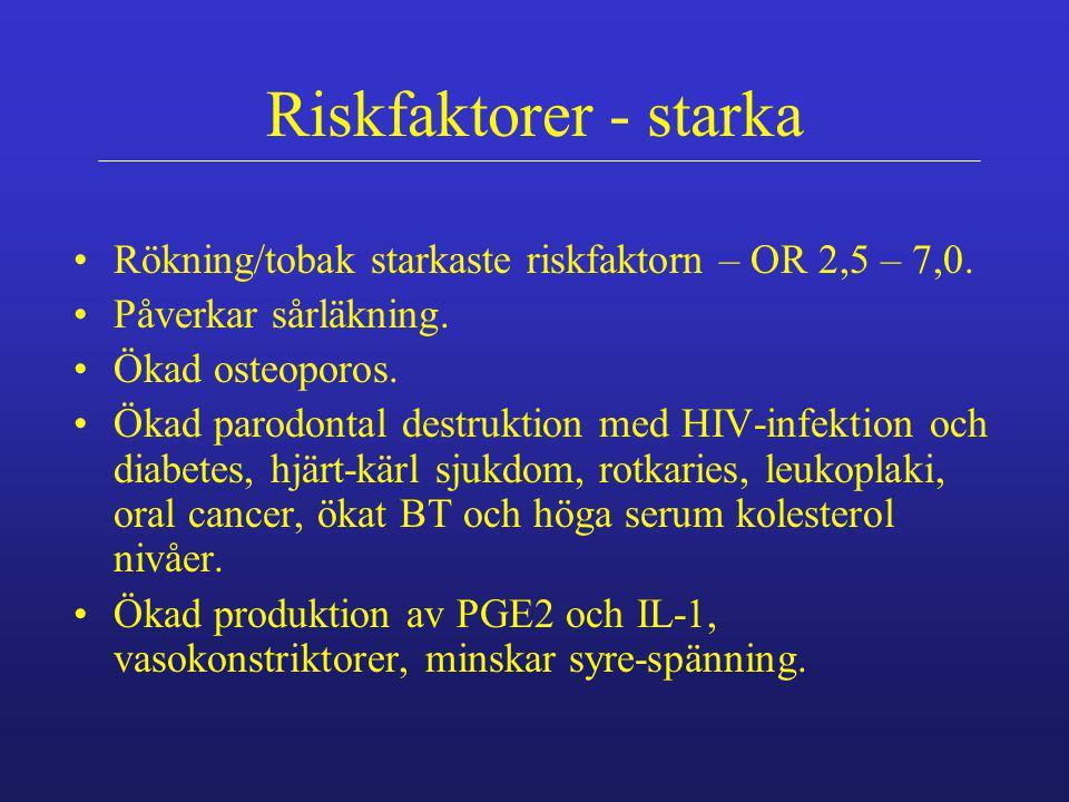 Riskfaktorer - starka Rökning/tobak starkaste riskfaktorn – OR 2,5 – 7,0. Påverkar sårläkning. Ökad osteoporos.