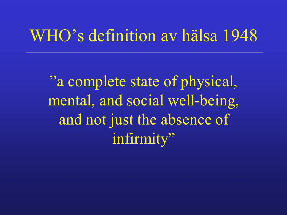 WHO's definition av hälsa 1948