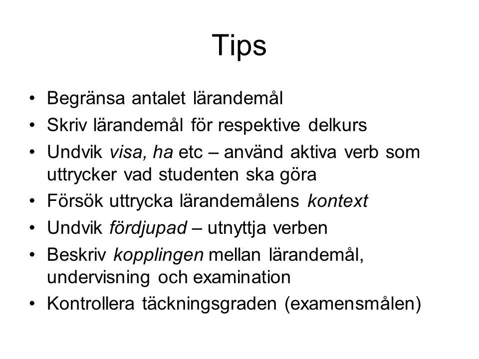 Tips Begränsa antalet lärandemål