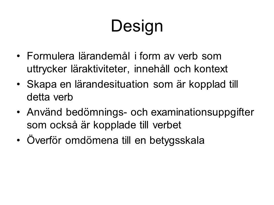 Design Formulera lärandemål i form av verb som uttrycker läraktiviteter, innehåll och kontext.