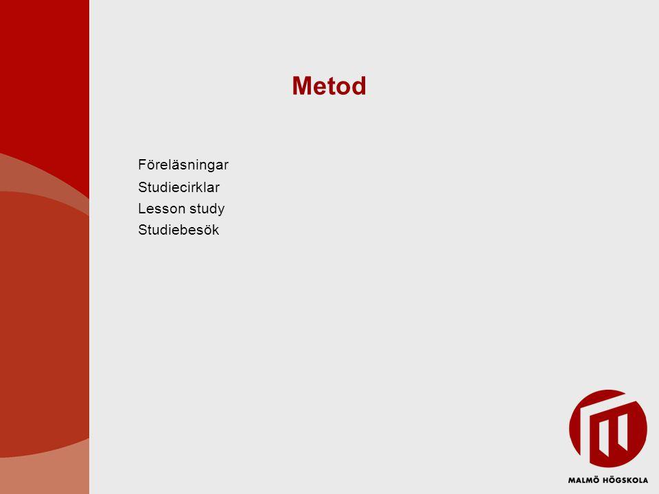 Metod Föreläsningar Studiecirklar Lesson study Studiebesök