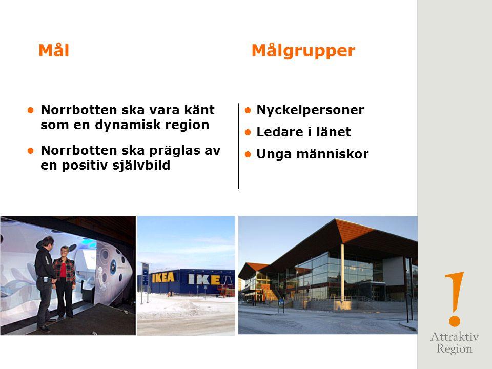 Mål Målgrupper • Norrbotten ska vara känt som en dynamisk region