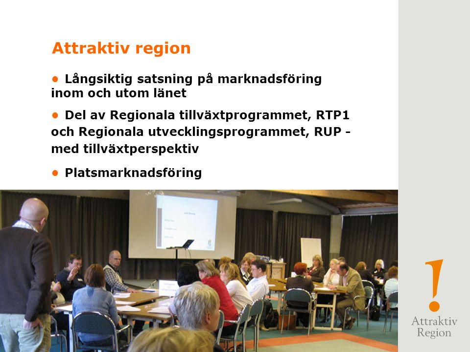 Attraktiv region • Långsiktig satsning på marknadsföring inom och utom länet.