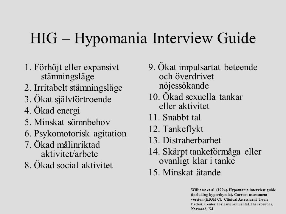 HIG – Hypomania Interview Guide