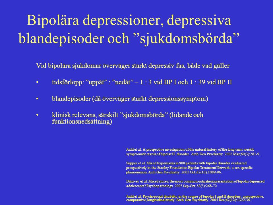 Bipolära depressioner, depressiva blandepisoder och sjukdomsbörda