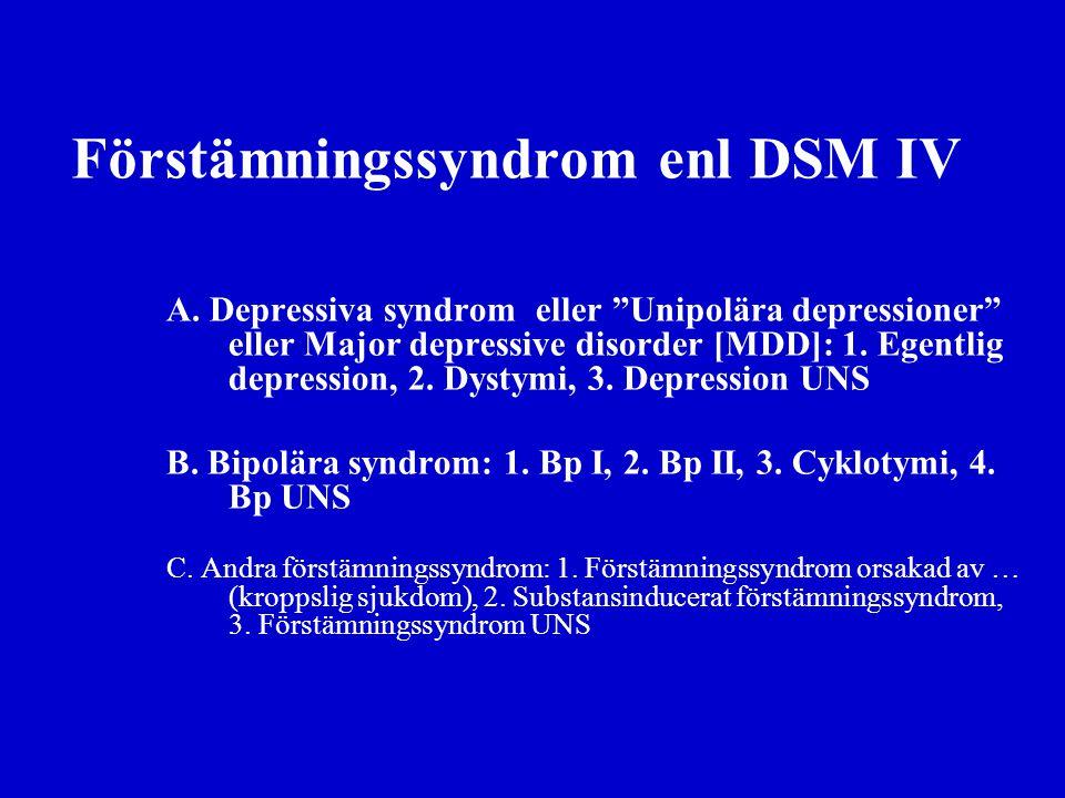 Förstämningssyndrom enl DSM IV