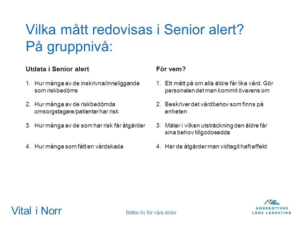 Vilka mått redovisas i Senior alert På gruppnivå:
