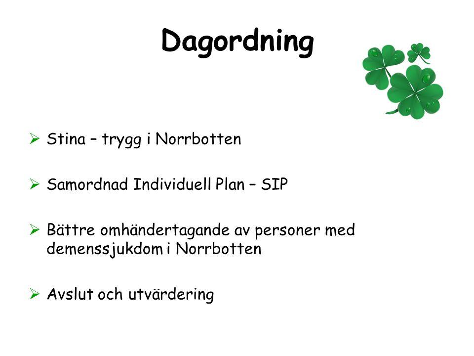 Dagordning Stina – trygg i Norrbotten Samordnad Individuell Plan – SIP