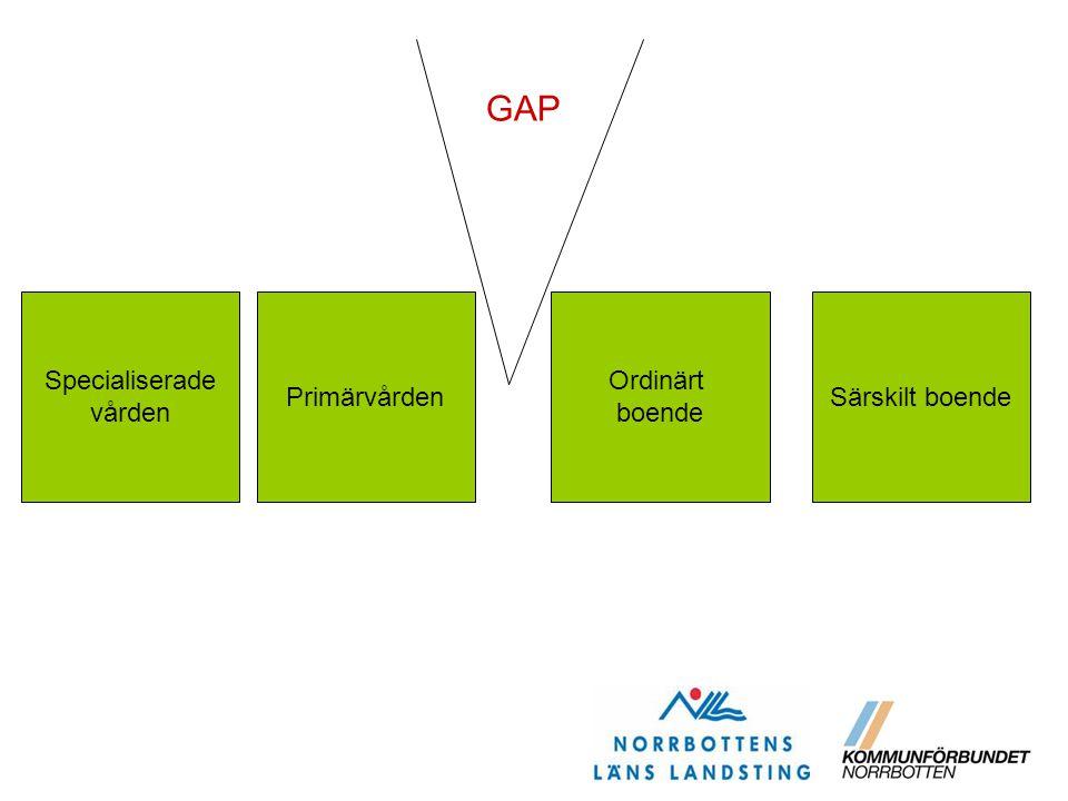 GAP Specialiserade vården Primärvården Ordinärt boende Särskilt boende