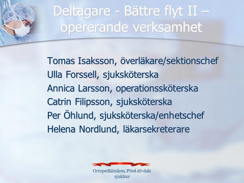 Deltagare - Bättre flyt II – opererande verksamhet