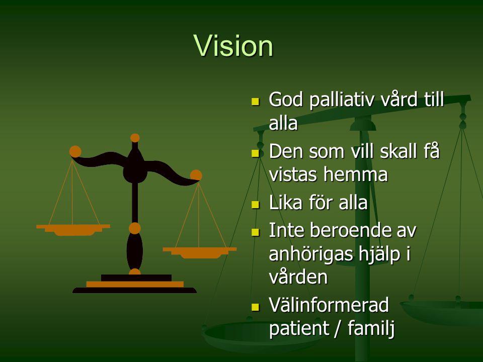Vision God palliativ vård till alla Den som vill skall få vistas hemma