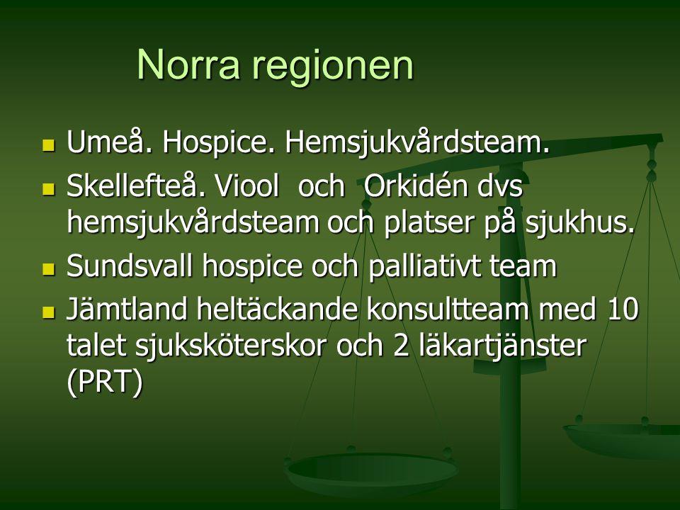 Norra regionen Umeå. Hospice. Hemsjukvårdsteam.