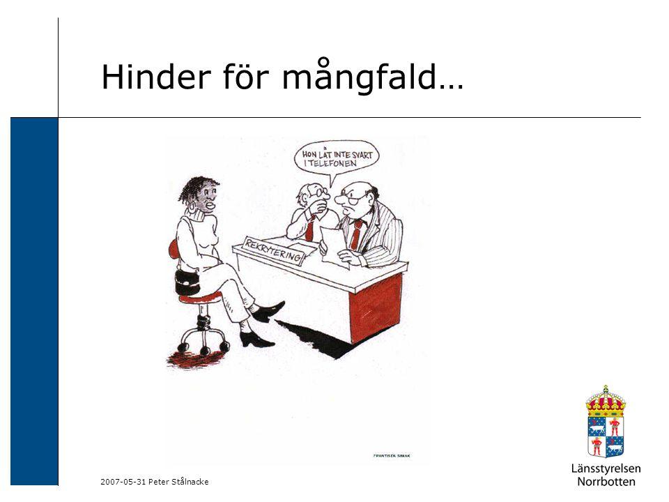 Hinder för mångfald… 2007-05-31 Peter Stålnacke