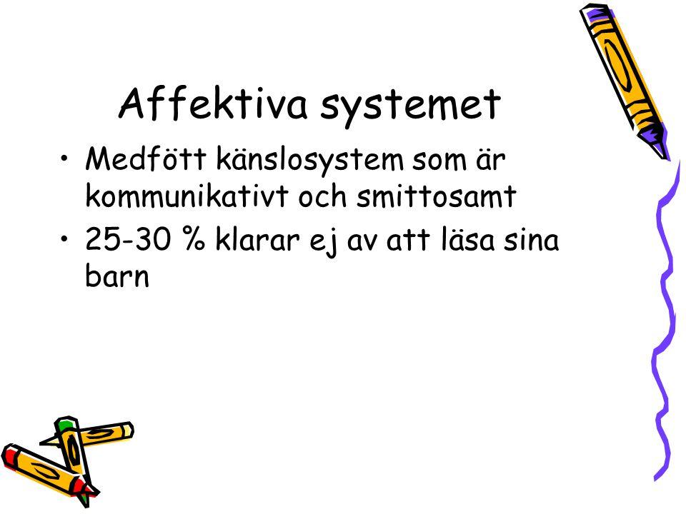 Affektiva systemet Medfött känslosystem som är kommunikativt och smittosamt. 25-30 % klarar ej av att läsa sina barn.