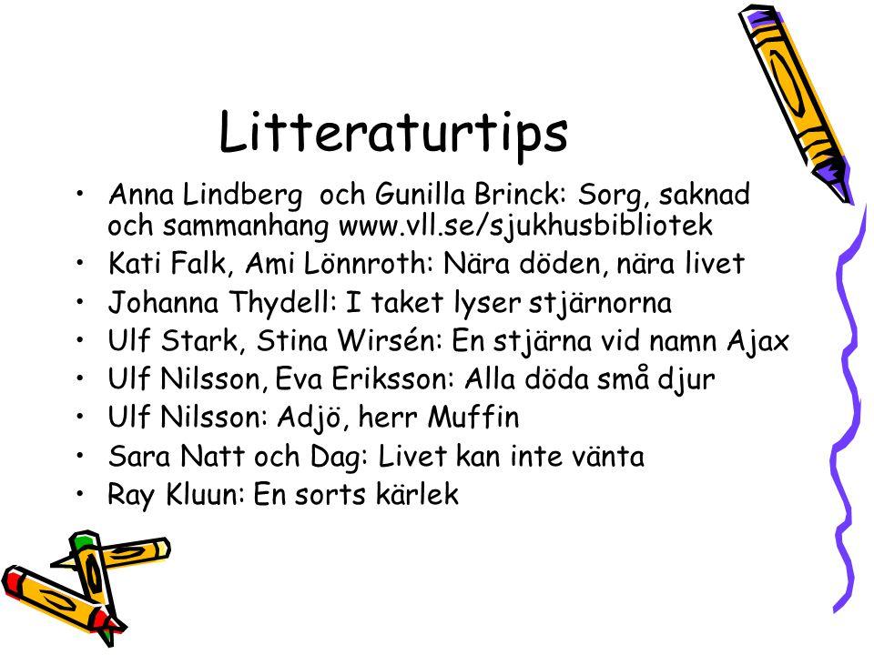 Litteraturtips Anna Lindberg och Gunilla Brinck: Sorg, saknad och sammanhang www.vll.se/sjukhusbibliotek.