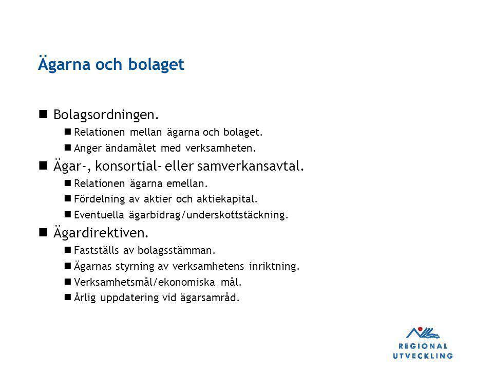 Ägarna och bolaget Bolagsordningen.