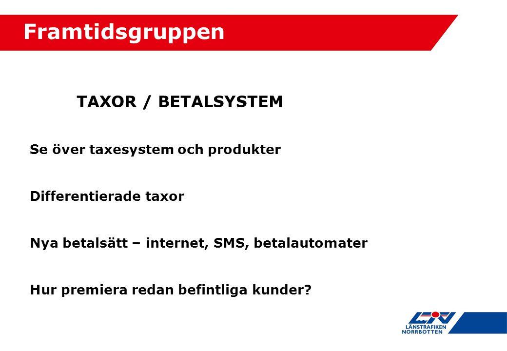 Framtidsgruppen TAXOR / BETALSYSTEM Se över taxesystem och produkter