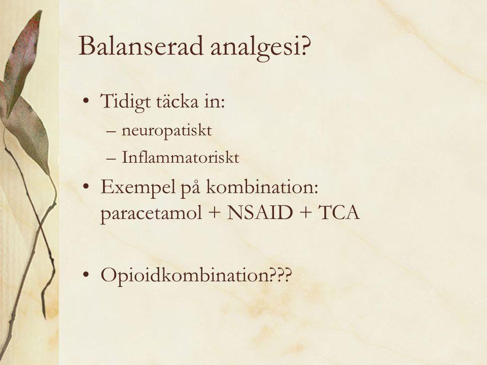 Balanserad analgesi Tidigt täcka in: