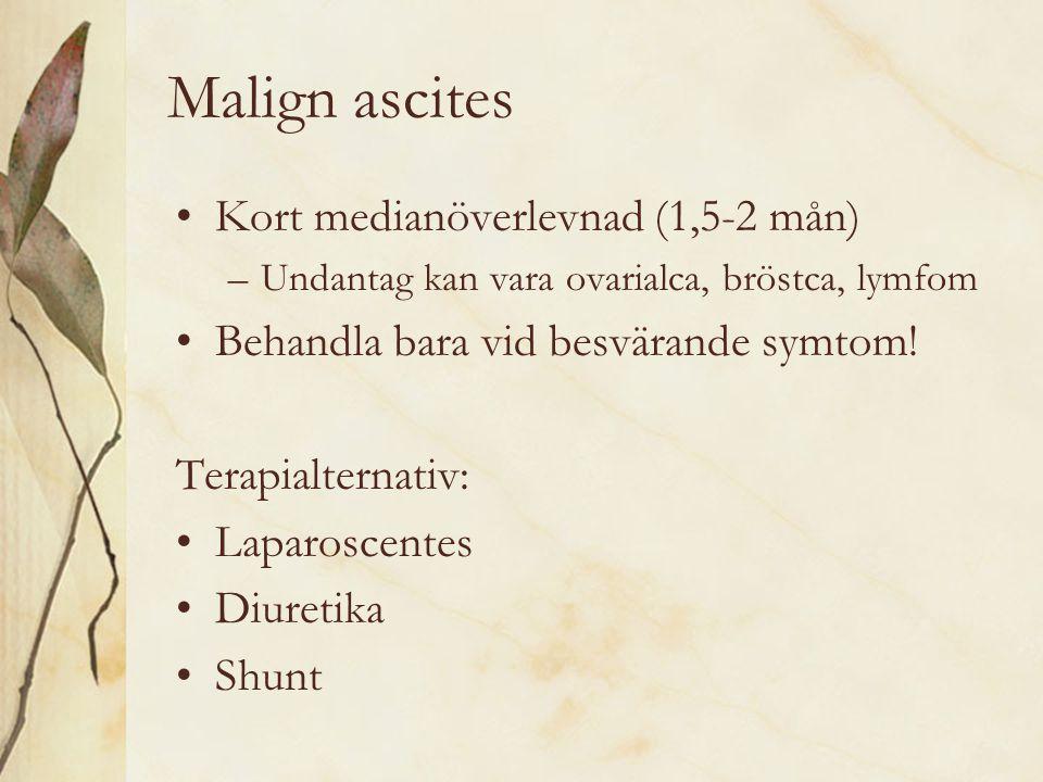 Malign ascites Kort medianöverlevnad (1,5-2 mån)