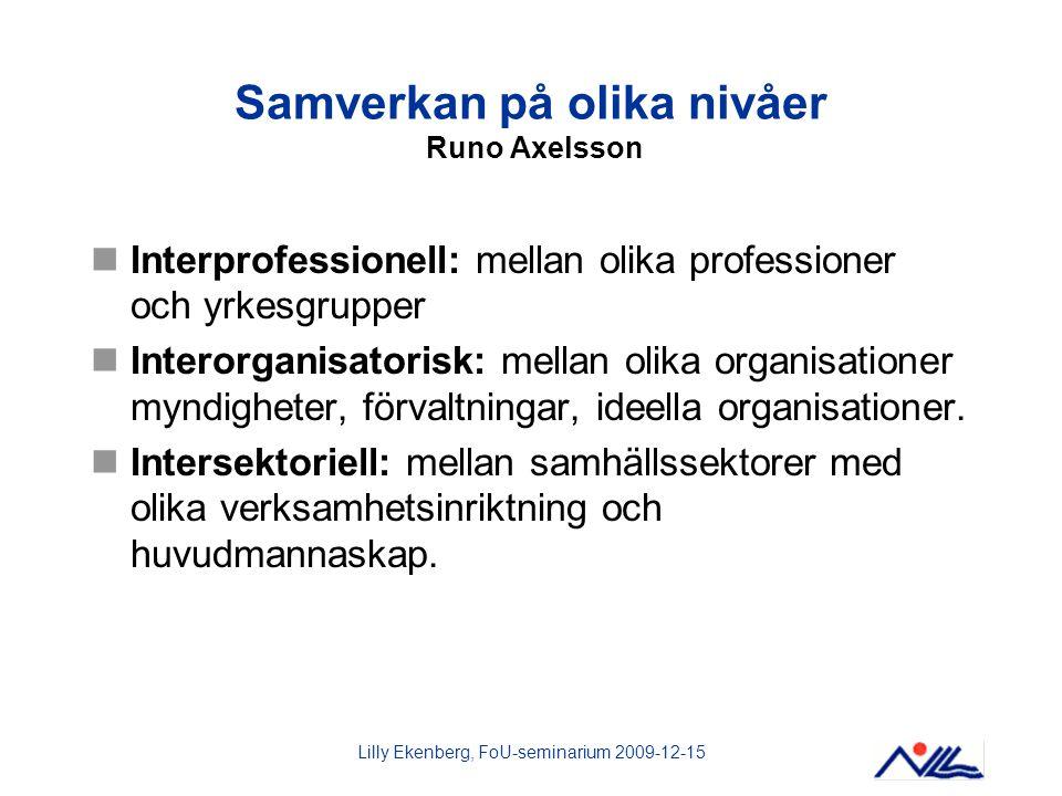 Samverkan på olika nivåer Runo Axelsson