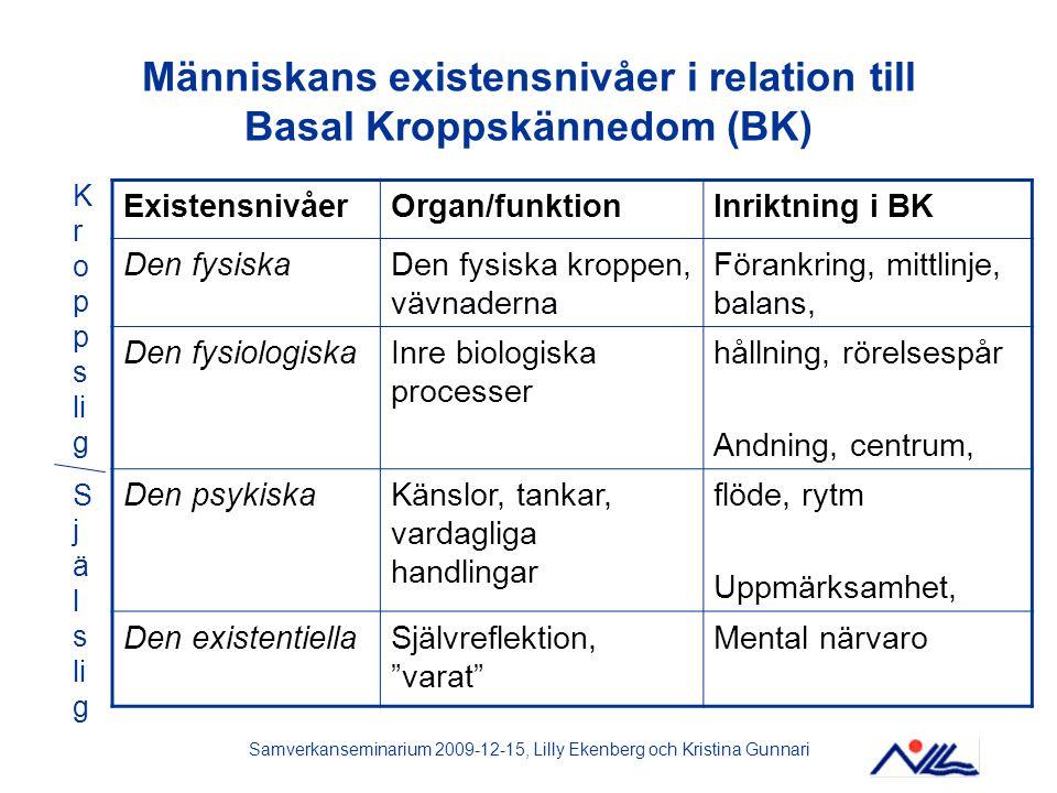Människans existensnivåer i relation till Basal Kroppskännedom (BK)