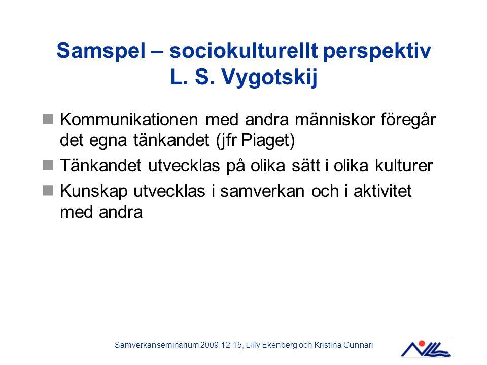 Samspel – sociokulturellt perspektiv L. S. Vygotskij