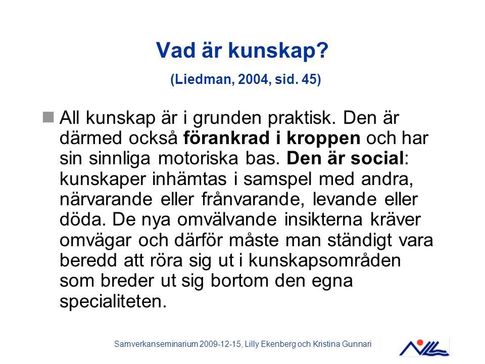 Vad är kunskap (Liedman, 2004, sid. 45)