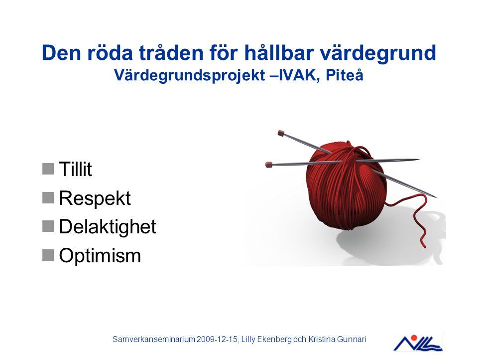 Den röda tråden för hållbar värdegrund Värdegrundsprojekt –IVAK, Piteå