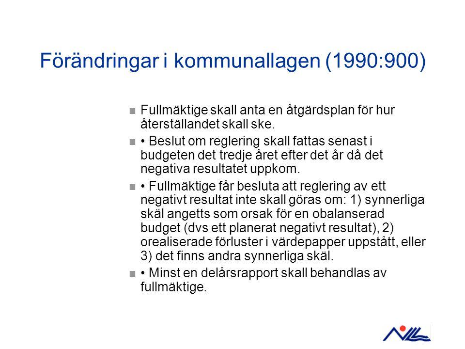 Förändringar i kommunallagen (1990:900)