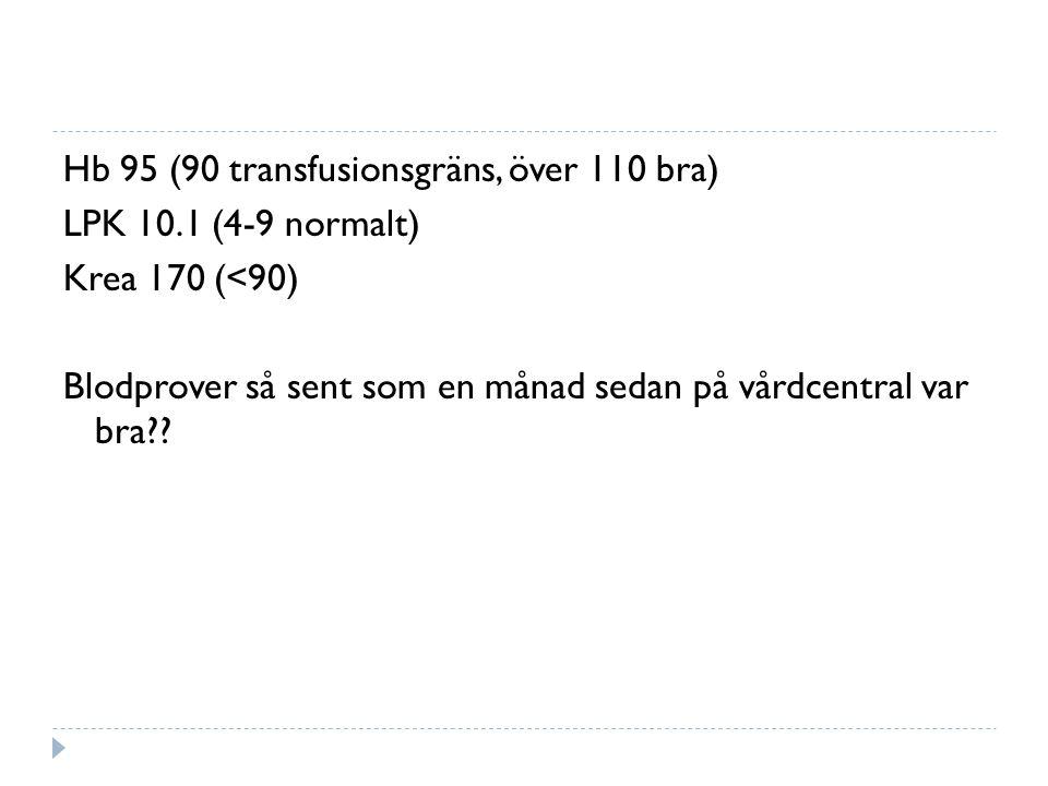 Hb 95 (90 transfusionsgräns, över 110 bra) LPK 10