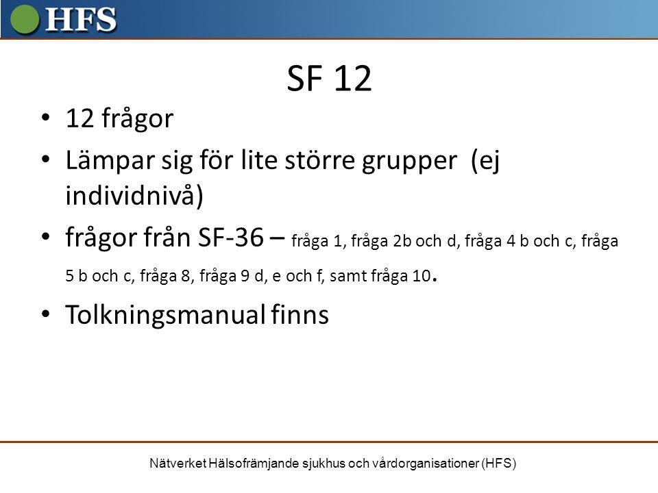 SF 12 12 frågor Lämpar sig för lite större grupper (ej individnivå)