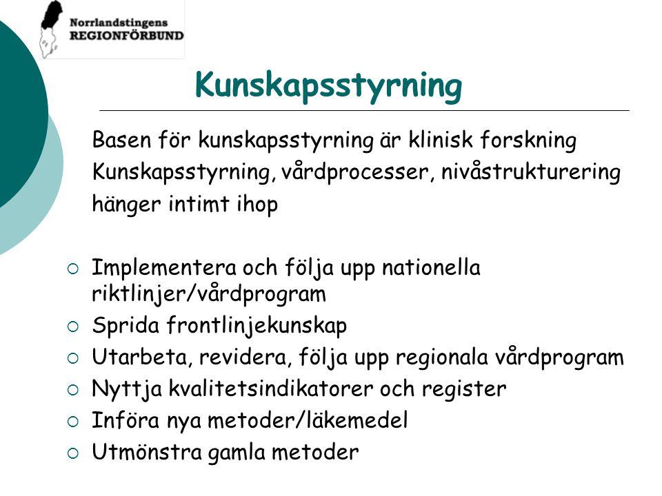 Kunskapsstyrning Kunskapsstyrning, vårdprocesser, nivåstrukturering