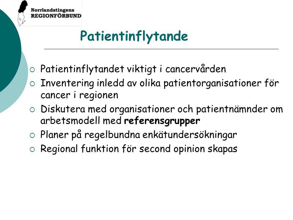 Patientinflytande Patientinflytandet viktigt i cancervården