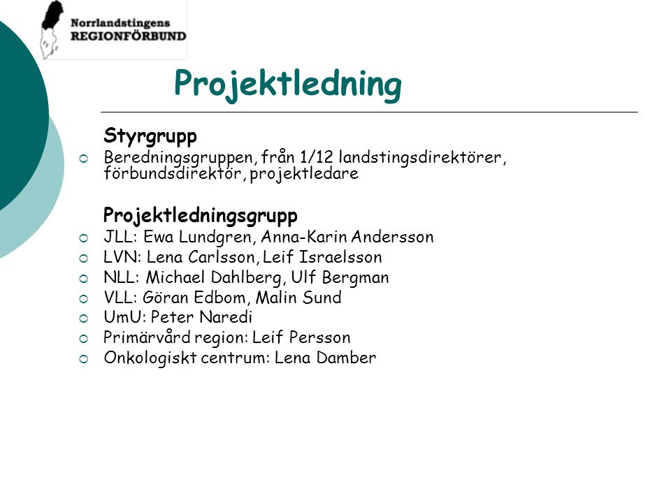 Projektledning Projektledningsgrupp Styrgrupp