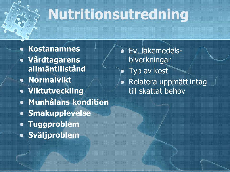 Nutritionsutredning Kostanamnes Ev. läkemedels-biverkningar