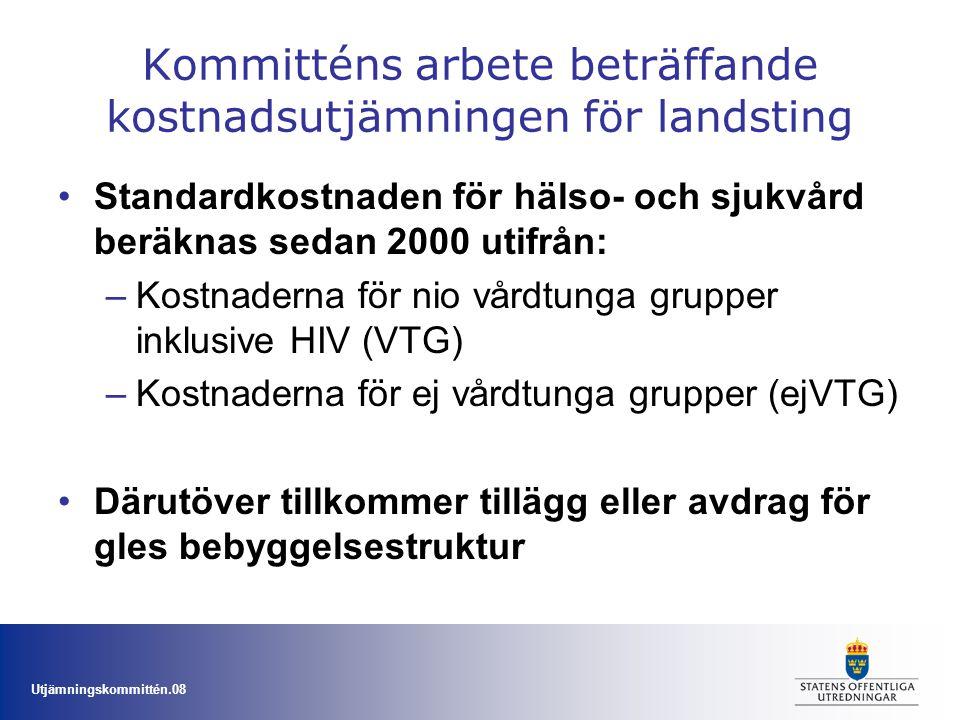 Kommitténs arbete beträffande kostnadsutjämningen för landsting