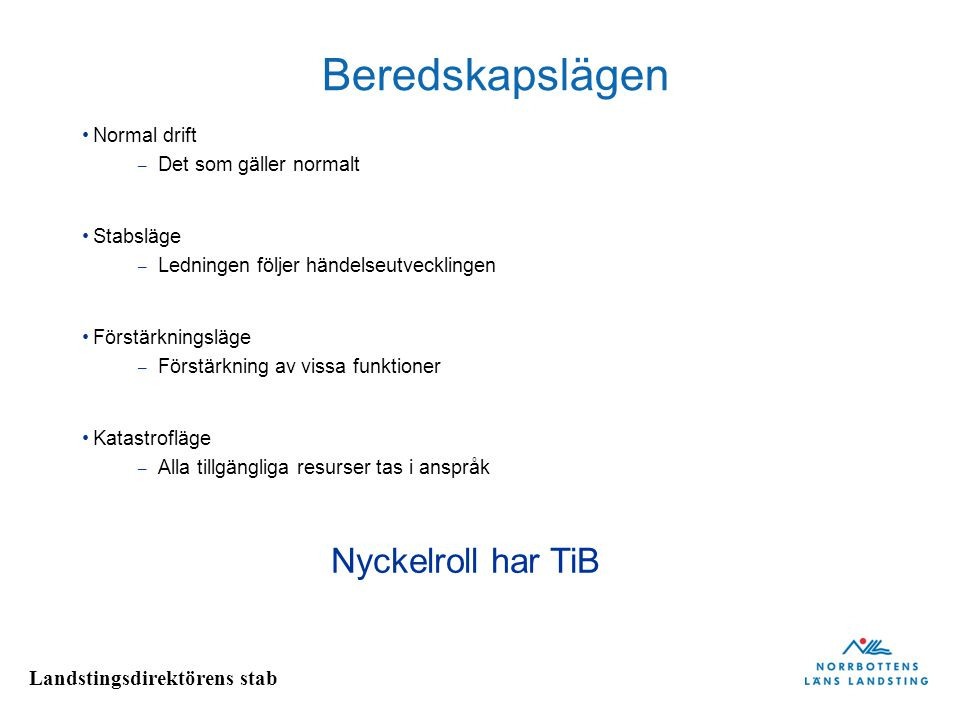 Beredskapslägen Nyckelroll har TiB Normal drift Det som gäller normalt