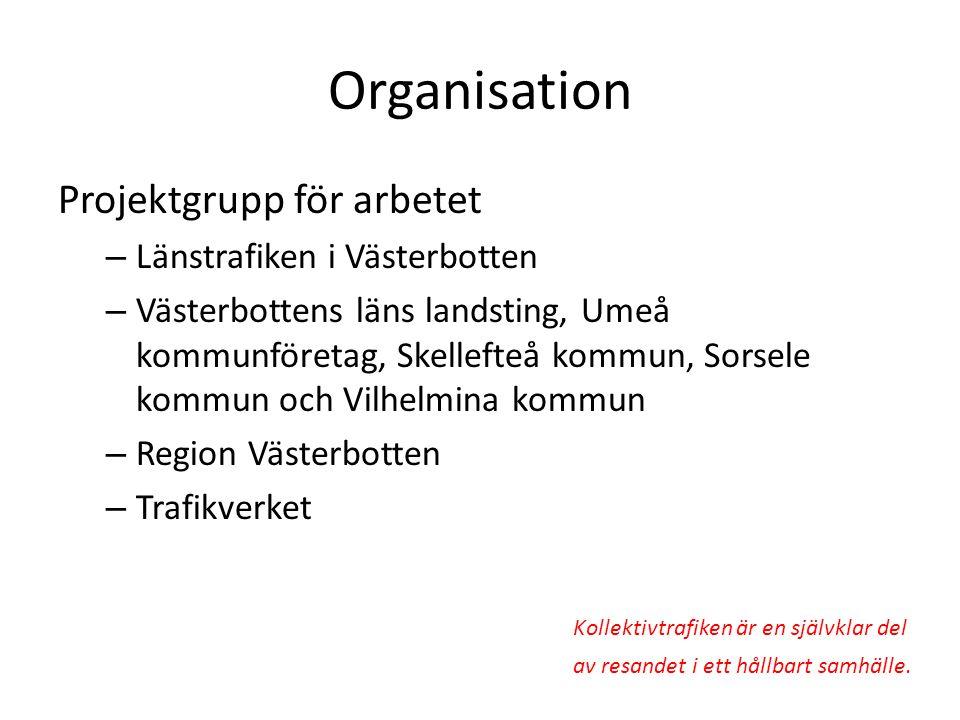 Organisation Projektgrupp för arbetet Länstrafiken i Västerbotten