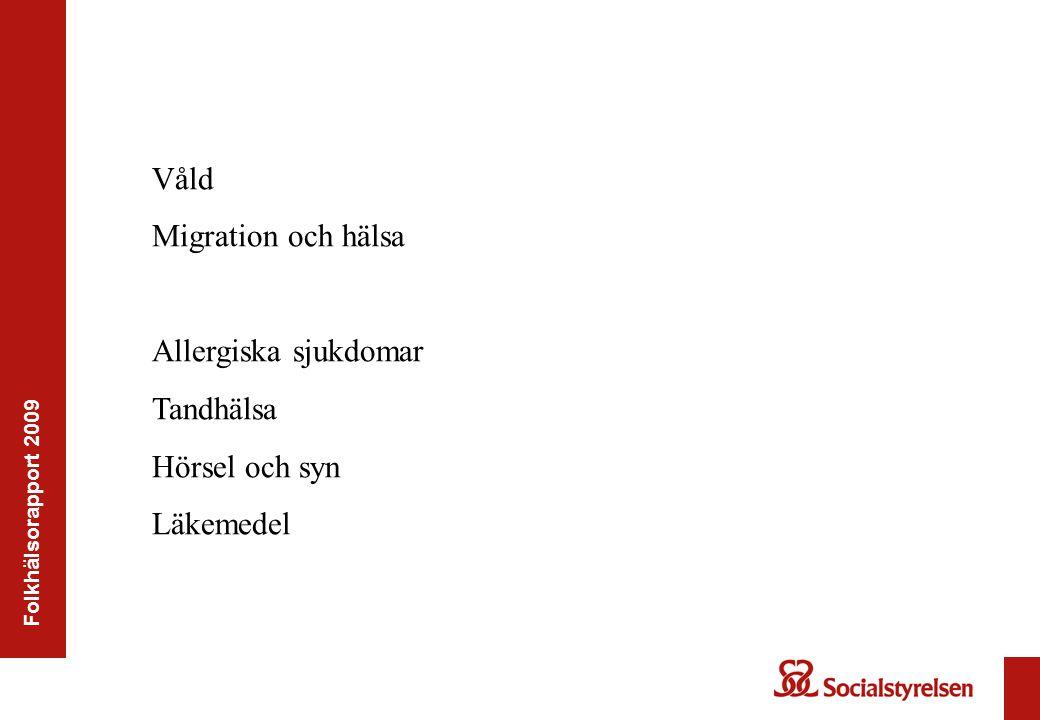 Våld Migration och hälsa Allergiska sjukdomar Tandhälsa Hörsel och syn
